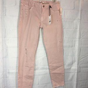 NWT Dex Crop Skinny Jeans Blush Sz 29 Distressed
